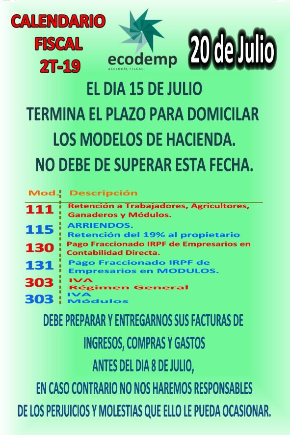 Calendario Fiscal 2019 Autonomos.Calendario Fiscal Julio 2019